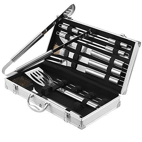 VonHaus 18 Piece Stainless Steel BBQ Utensil Set + Aluminium Carry Case