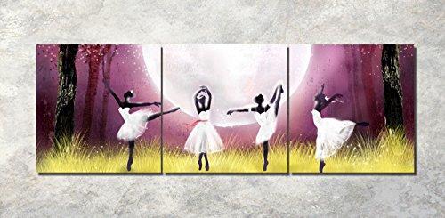 LB Mondschein Ballett Mädchen Wald Baum Feld Gras Bild Druck auf Leinwand Wandkunst für Wohnzimmer Schlafzimmer Dekoration 3 Stück 40x40 mit Rahmen