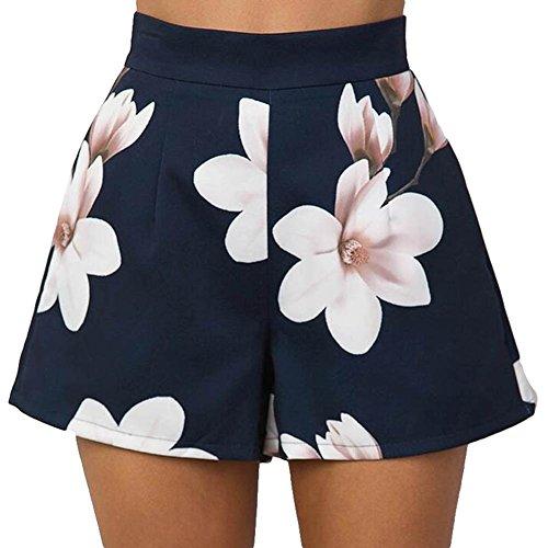 Pantalones Cortos para Mujer - Moda Cintura Alta Shorts con Cremallera  Trasera Elegante Flor Impresa Casual d3bb200bf8e