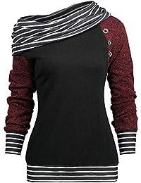 Riou Langarmshirt Frauen Herbst und Winter langärmelige Nähte Schultertaste  Pullover Damenmode Schlanke Shirt… 214c26de3f