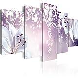 murando - Bilder 200x100 cm Vlies Leinwandbild 5 TLG Kunstdruck modern Wandbilder XXL Wanddekoration Design Wand Bild - Blumen Silber Glanz blau lila b-A-0031-b-p