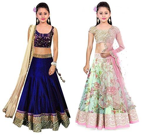 Market Magic WorldKids Girls Wear Semi-stitched Free Size Combo Pack Of 2 Lehenga Choli (Girls Wear 8-12 Year)