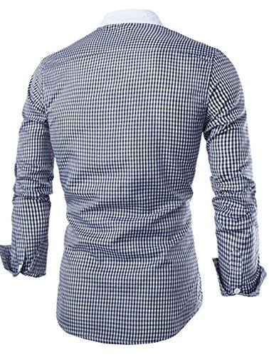 Jeansian Hommes Chemise Slim Fit Mode Mens Casual Fashion Plaid Shirt 8730 Black