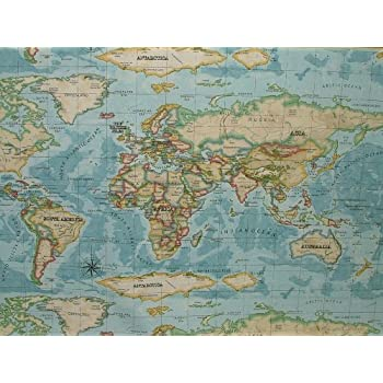 Prestigious atlas world map azure prestigious designer fabric by the prestigious atlas world map azure prestigious designer fabric by the metre gumiabroncs Choice Image