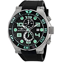 Invicta Men's Pro Diver 50mm Black Polyurethane Band Steel Case Flame-Fusion Crystal Quartz Watch 15394
