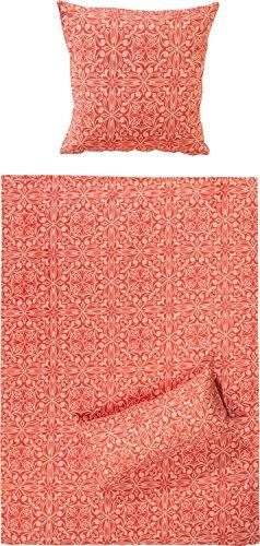 REDBEST Bettwäsche Perkal rot Größe 155x220 cm (40x80 cm) - atmungsaktiv, temperaturausgleichend, mit Reißverschluss (weitere Größen)