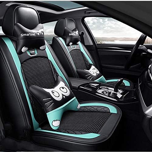 Coprisedile Four Seasons, Seggiolino auto in seta di seta per uomo e donna Stile sportivo di lusso compatibile Airbag Maggiorato di auto (Audi/BMW/Golf/Volkswagen),B(BlackBlue)