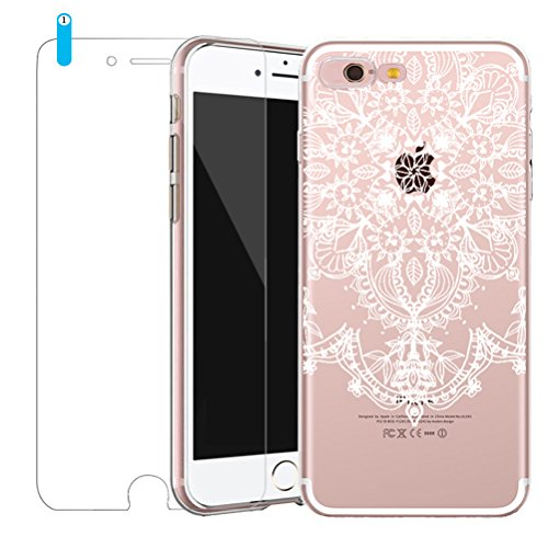 Cover iPhone SE/5/5s [Pellicola Protettiva in Vetro Temperato], Bestsky Custodia iPhone 6/6s Trasparente Silicone Tribal Henna Mandala Antiurto Protettiva Shell Case per Apple iPhone SE/5/5s (4.0 poll #06