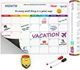 Monthly Calendar Planner Magnetic Board - Dry Erase Board Refrigerator Calendar - Fridge Calendar Monthly Schedule Board - Message Board and Reminder for Kitchen Refrigerator -  A3 Size