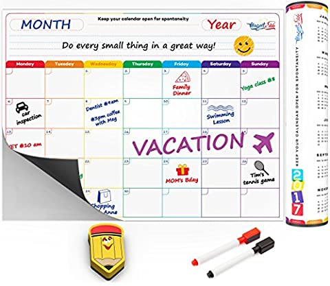 Monthly Calendar Planner Magnetic Board - Dry Erase Board Refrigerator Calendar - Fridge Calendar Monthly Schedule Board - Message Board and Reminder for Kitchen Refrigerator - A3