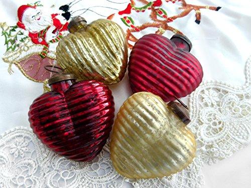 Unbekannt Baumschmuck 4er Set Weihnachtsbaum Herz Rot Gold Antik
