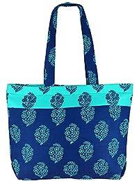 Multipropósito azul y celeste Bolso de compras - la bolsa de asas de algodón con cierre de cremallera y dos asas