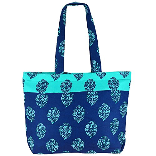 ShalinIndia Polyvalent Sac de shopping, Zipper clôture, 100% coton