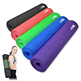 JLL® Yoga Mat. 183cm x 61cm (72inch x 24inch), 6mm Thick Exercise Fitness Workout, Mat Physio Pilates Camping Gym with Carry Case (Black)