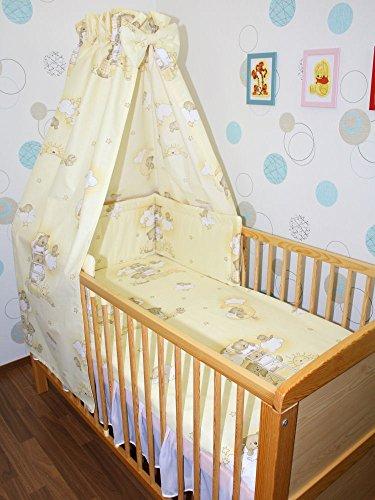 Baby Bettset -6 tlg- mit Bettwäsche Nestchen Vollstoff Himmel Bettausstattung D5