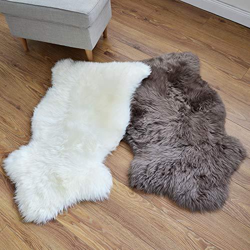 Lammfell Teppich | Schaffell echt | extra geruchsarm | Öko-Tex | Fellteppich Vorleger Wohnzimmer & Schlafzimmer | Hochflor Teppich | Naturfell Elfenbein Weiß | 3 Größen (ca. 180 x 60 cm)