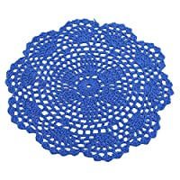 Winwinfly Hand Crochet Round Placemats and Coasters Woven Lace Doily Table Place Mats for Dining Table,Royal Blue