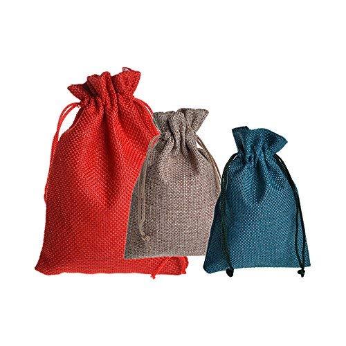 Lvcky 20 Stück Leinen-Baumwollbeutel mit Kordelzug Wiederverwendbare Geschenktüten Süßigkeiten Geschenkbeutel Schmuck Beutel für Hochzeit Weihnachten Halloween