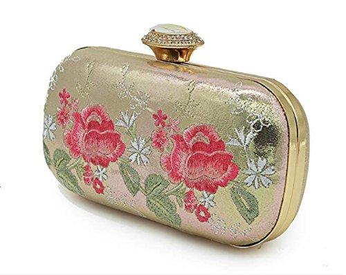 Damen Abendtaschen Heavy Gems Strass Stickerei Rosen Schulter Clutch Cordour Dinner Bag Gold