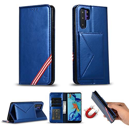Miagon für Huawei P30 Pro Hülle,Wallet Case Cover Schutzhülle und Klapp Magnetisch Flip Bumper Ledertasche Schutzhülle,Blau (Kreuzstich Uns)