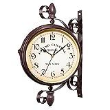 Paddington Reloj pared vintage diseño estacion de tren siglo XIX (esfera estanca Ø23cm diametro, números romanos grandes, estilo retro, material resistente exterior jardín, carcasa metálica negro mate