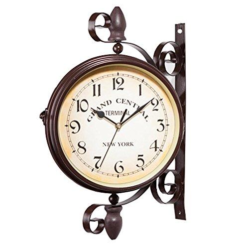 Alian Nostalgie Wanduhr Bahnhofuhr Doppelseitige Bahnhofsuhr im Retro Design, Europäischer Stil Vintage Uhr Innovativ Modisch Beidseitig Wanduhr
