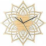 LOSTRYY Lotus reloj de madera de bambú de la madera de bambú Flor silenciosa reloj de cuarzo colgando el cuadro 30CM