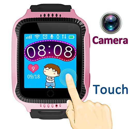 TURNMEON 1.44 inch Touch Kids GPS Tracker Smart Watch with Camera SIM Calls Anti-lost SOS Wrist Watch Smart Bracelet for Children Girls Boys Finder Safety Monitor Flashlight (Mix Pink)