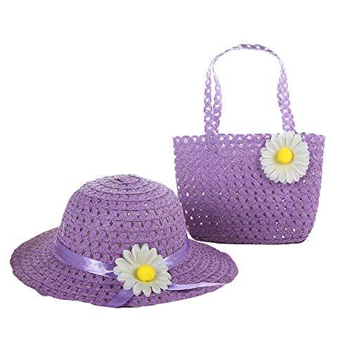 AZXAZ Kinder Strohhut und Tasche Blume Sonnenhut Handtasche Set Für Prinzessin Mädchen Sommer Strandhut Geldbörse Set Party Dress Up Hut Mit Tasche (Lila) -