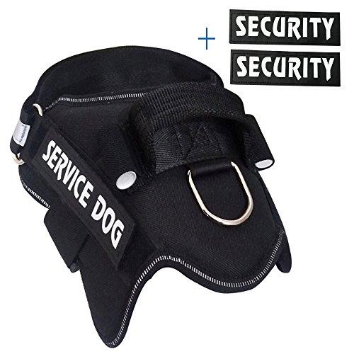 MS KeKe Hundegeschirr Weste mit Zwei Paar Klettverschluss Patches Service Hund und Sicherheit, Kein Ziehen Hund Harness-Classic Schwarz, L -