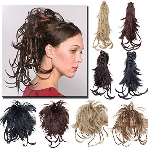 """TESS Ponytail Extensions Pferdeschwanz Haarteil DIY Haarverlängerung Clip in Synthetik Haare für Zopf Haarteil Hair Extensions 12""""(30cm)-100g Schwarz"""
