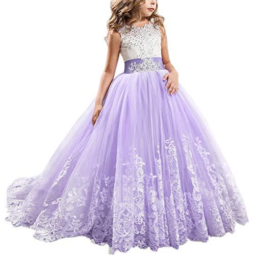 4f95f50d7 IWEMEK Appliques de Encaje Vestido de niña de Flores para la Boda Princesa  Vestidos de Dama