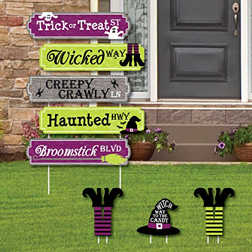 Big Dot of Happiness Happy Halloween Street Sign Cutouts - Hexe Party Yard Schilder & Dekorationen - Set von 8