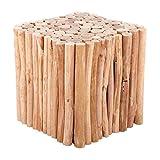 RUSTIKALER Design Holz HOCKER Eiger | 30 cm, eckig, Sitzhocker | Holzhocker