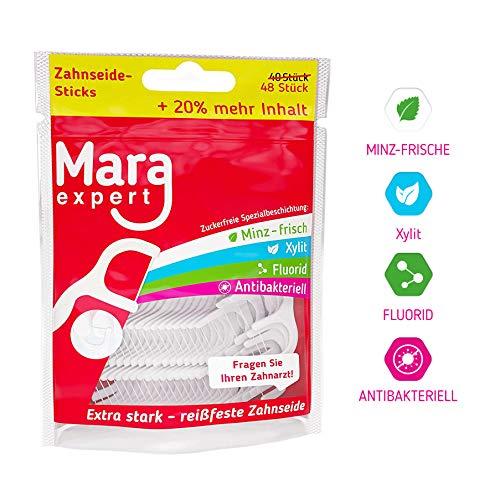 Zahnseide Sticks von MARA EXPERT | 48x Reinigung Zahnzwischenäume | MINT, FLUORID, CHLORHEXIDINE BESCHICHTUNG-Ohne Zucker | Fragen Sie Ihren Zahnarzt
