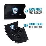 RFID Schutzhülle Kreditkarten – NFC Blocker und Ausleseschutz .:. 12 Blocking Hüllen für Kreditkarte, EC-Karte, Personalausweis, Bankkarte, Reisepass gegen Datenklau .:. 100% Datenschutz
