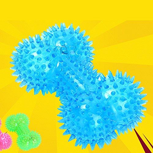 Pet Gummi bunte Bälle Hund Spielzeug, elastische Blitz leuchten Sound Knochen geformt Stachelige molaren interaktiven Spielzeug -