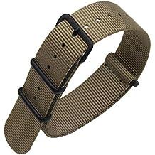 de una sola pieza correas de reloj de estilo de la NATO perlón de nylon de 20 mm de color caqui lujo de los hombres exquisitos correas textiles