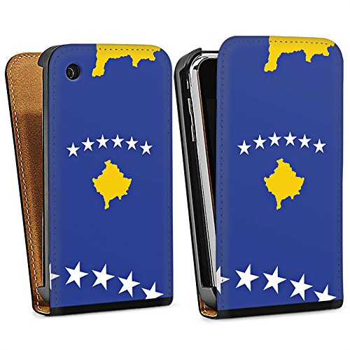 Apple iPhone 4 Housse Étui Silicone Coque Protection Kosovo Drapeau Drapeau Sac Downflip noir
