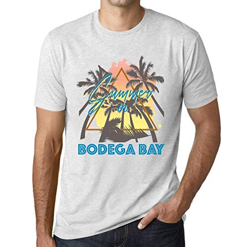 Herren Tee Männer Vintage T Shirt Summer Triangle Bodega Bay Weiß Gesprenkelt