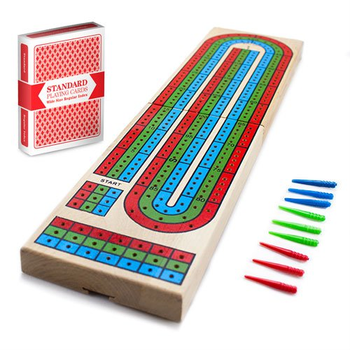 Brybelly Holz 3 TRACK Cribbage-Brett mit gratis Deck Of Cards (Board-3-track Cribbage)