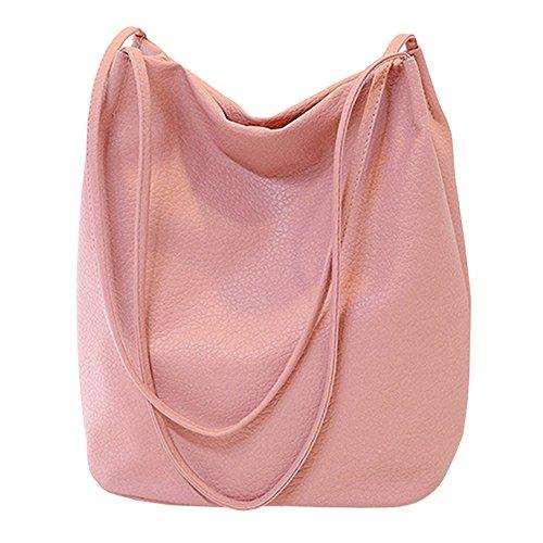 Eimer Tasche Damen Handtasche Leder Schultertasche Umhängetaschen Beutel,Pink (A4-tasche)