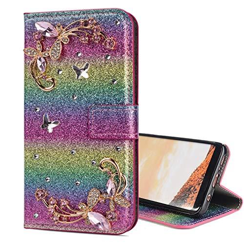 Preisvergleich Produktbild Nadoli Leder Hülle für Galaxy J3 2017, Luxus Bling Glitzer Diamant 3D Handyhülle im Brieftasche-Stil Schmetterling Blumen Flip Schutzhülle Etui für Samsung Galaxy J3 2017, Rosa