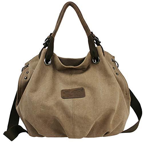 Bag Street Damen Umhängetasche Große geräumige Schultertasche aus Canvas in 2 Farben Grau oder Braun (Braun)