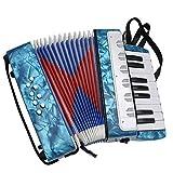 Fisarmonica Portatile leggero per bambini Fisarmonica per pianoforte 17 tasti 8 bassi con cinghie regolabili Strumenti musicali per principianti Studenti strumento educativo per banda Giocattoli regal