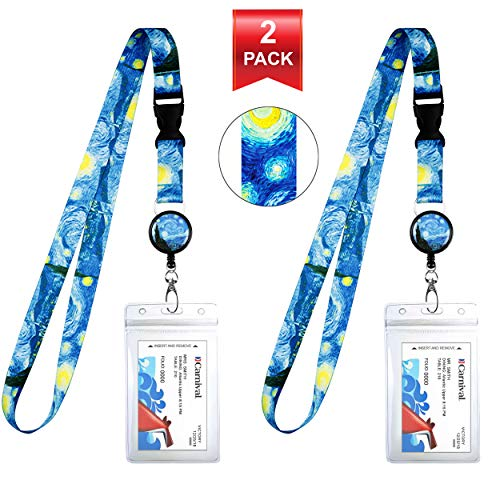 Vincent Van Gogh der Starry Night Cruise Lanyard und der wasserdichte ID Key Card Holder Clip. Passende einziehbare Abzeichenrolle. Bonus-Reiseveranstalter-Tasche. Essential Cruise Zubehör. 2 Pack.