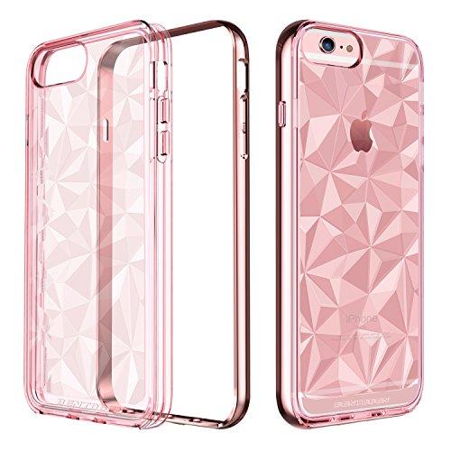 iPhone 6S Plus Hülle, iPhone 6 Plus Hülle, BENTOBEN iPhone 6 Plus stoßfeste Schutzhülle Hybrid PC Schutzrahmen und flexibel TPU Bumper Case mit 3D Pattern Design Handyhülle für iPhone 6 plus iPhone 6S plus Transparent Rose Gold