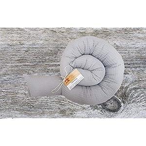 Bettschlange, Waffelpique Grau, 180cm bis 300cm wählbar, Handmade, ÖKO-TEX® Standard 100 zertifizierte Materialien, 100% Made in Germany