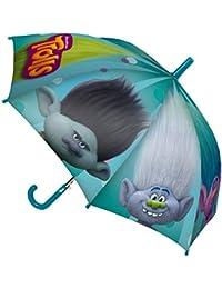 GUIZMAX Paraguas Los Trolls Niño Disney Amapola Azul Patilla Lentejuelas