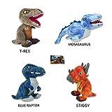 PELUCHILANDIA Dinosaurios peluche JURASSIC WORLD (Blue Raptor-TRex-Mosasaurus-Stiggy) Precio por Unidad.